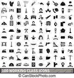 estilo, trabajando, iconos, conjunto, simple, 100, clase