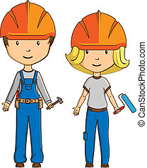 estilo, trabalhadores, caricatura, dois