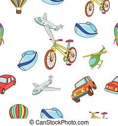 estilo, transporte, tipos, padrão, caricatura