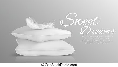 estilo, travesseiros, macio, isolado, ilustração, realístico, vetorial, monocromático, pena branca