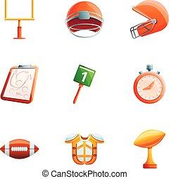 estilo, treinador, jogo, futebol, americano, caricatura, ícone