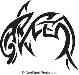 estilo, tribal, delfín, -, ilustración, vector