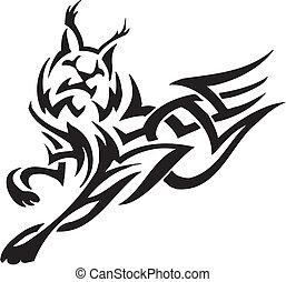 estilo, tribal, -, ilustración, vector, lince