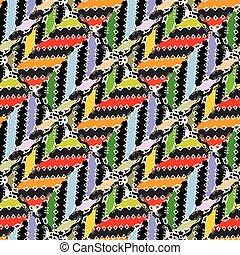 estilo, tribal, pattern., seamless, ziguezague, vetorial, étnico