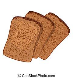 estilo, trigo, fatias, isolado, ilustração, três, realístico, pão