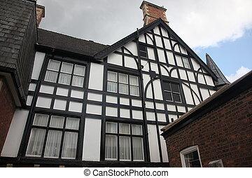 estilo tudor, fasade, casa, chester, reino unido
