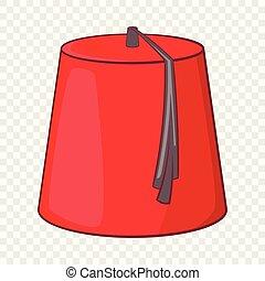 estilo, turco, icono, fez, caricatura, rojo