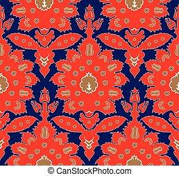 estilo, turco, padrão, seamless, floral, otomano