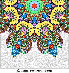 estilo, ucranio, patrón, oriental, étnico, floral, redondo
