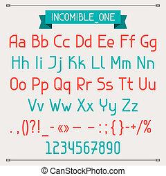 estilo, uno, incomible, font., clásico