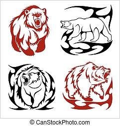 estilo, ursos, tribal, isolado, selvagem, branca