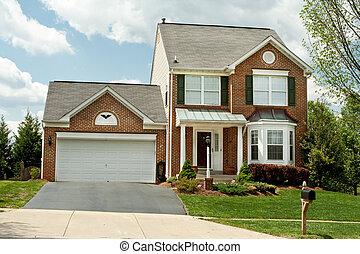 estilo, usa., família, muito, casa, suburbano, novo, frente, único, maryland, lar, pequeno, tal, tijolo, edifício.