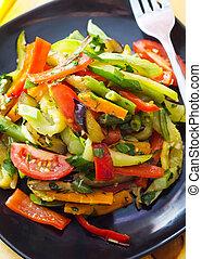 estilo, variedad, alimento, vegetales, tailandés, frito, conmoción