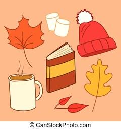 estilo, vector, elementos, conjunto, otoño, caricatura