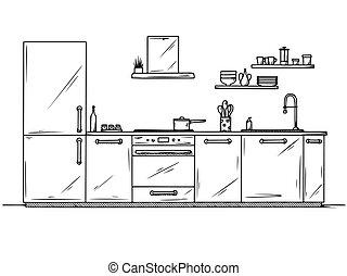 estilo, vector, mano, dibujado, ilustración, furniture., bosquejo, cocina