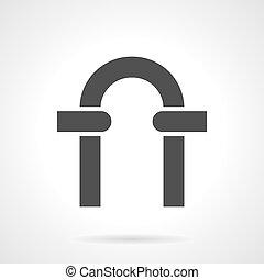 estilo, vector, negro, glyph, arco, icono
