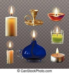 estilo, velas, ilustração, realístico, vetorial, vário, cobrança
