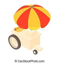 estilo, venda, cachorros, quentes, caminhão, ícone, caricatura
