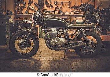 estilo, vendimia, cafe-racer, aduana, garaje, motocicleta
