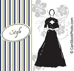 estilo, vestido, cartão