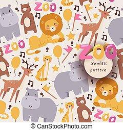 estilo, vetorial, animais, illustration., hipopótamo, experiência., padrão, leão, seamless, urso, isolado, veado, gato, animais, sorrindo, jardim zoológico, branca, caricatura, feliz