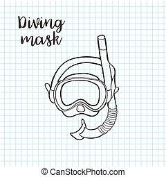 estilo, vetorial, formato, doodle, máscara, equipamento, snorkel, incluindo, snorkeling