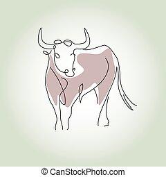 estilo, vetorial, linha, mínimo, touro