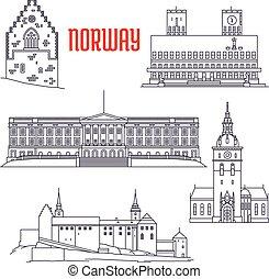 estilo, viaje, vistas, línea fina, noruega, icono