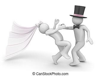 estilo vida, cobrança, -, newlyweds, torção