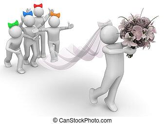 estilo vida, cobrança, -, noiva, e, damas honra