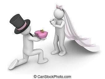 estilo vida, cobrança, -, noiva, e, noivo, com, anéis