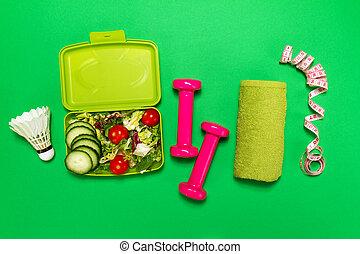 estilo vida, desporto, apartamento, saudável, topo, alimento, space., equipamento, lay., luminoso, experiência., atleta, cópia, ou, vista