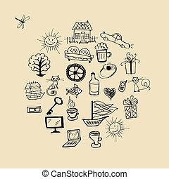 estilo vida, elementos, desenho, seu