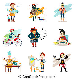 estilo vida, jogo, estilo vida, ícones, saudável,...