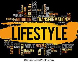 estilo vida, nuvem, palavra, condicão física