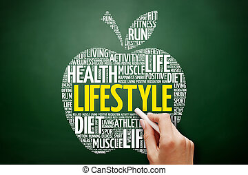 estilo vida, palavra, maçã, nuvem