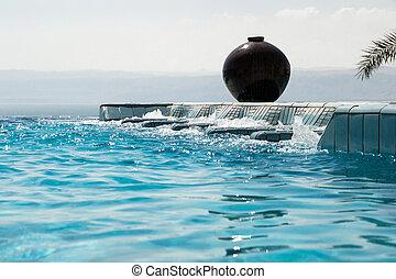 estilo vida, recreação, infinidade, concept., jacuzzi, luxo, water., azure, piscina