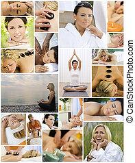 estilo vida, relaxante, &, saudável, spa, massagem, mulheres