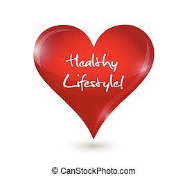 estilo vida saudável, coração, ilustração, desenho