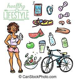 estilo vida saudável, mulher, -