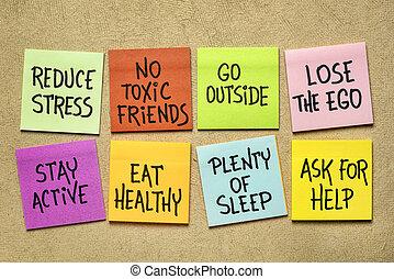 estilo vida, saudável, notas, -, hábitos, lembrete