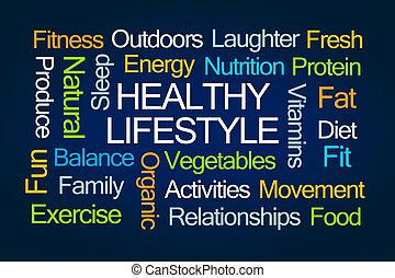estilo vida saudável, palavra, nuvem
