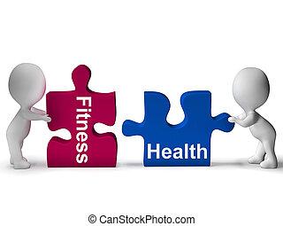 estilo vida, saudável, quebra-cabeça, saúde, condicão física, mostra
