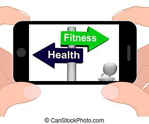 estilo vida, saudável, signpost, saúde, monitores, condicão física