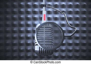 estilo, viejo, gris, plano de fondo, micrófono