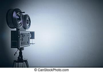 estilo viejo, película, cámara, en, gris, pared, backgound