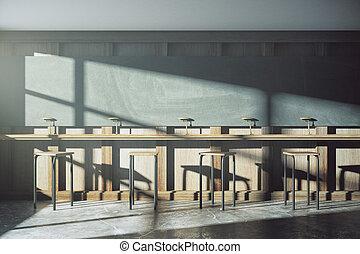 estilo viejo, universidad, aula, con, muebles, y, pizarra, en, salida del sol