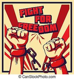 estilo, vindima, cartaz, luta, vetorial, liberdade