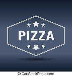 estilo, vindima, etiqueta, retro, branca, hexagonal, pizza