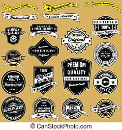 estilo, vindima, etiquetas, cobrança, emblemas, retro